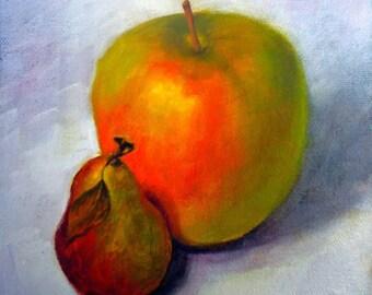 Original Painting Pear, Kitchen Decor, Original Painting, Fruit, Still life, Wall decor,