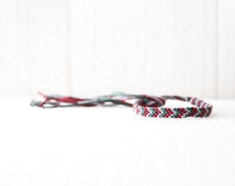 Friendship Bracelet Chevron Burgundy Green and Grey / Stocking Stuffer