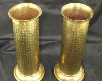 Set of 2 Vintage Hammered Brass Vases w/ Weighted Bases 1930s era