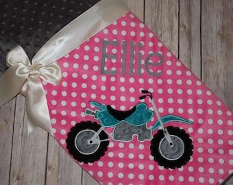 Dirt Bike- Personalized Minky Baby Blanket - Pink Minky Polka Dots / Gray Minky - Embroidered Dirt Bike