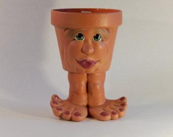 Face Pot - People Pots - Unique Gift Ideas - Unique Planters - Ceramic Pot - Our Family Crafts