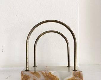 Stone and Brass Letter Holder- Vintage Mail Holder- Vintage Letter Holder- Marble and Brass Letter Holder