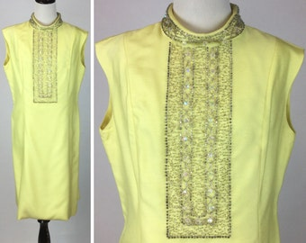 Yellow Beaded Dress - Vintage 60s Evening Cocktail Party Dress - Silver Beads Faceted Crystals - Stand Up Collar, Sleeveless - Large XL