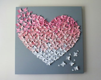 "Butterfly Wall Art - 30""x30"" in Soft Pinks and Soft Grey - Nursery Decor- Baby Girl - Butterfly Art - Baby Shower - Gift - Statement Piece"