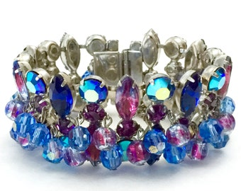 Blue Purple Rhinestone and Crystal Bracelet, Givre Blue Purple Rhinestones, Crystal Dangles, Wedding Special Occasion, Vintage Gift for Her