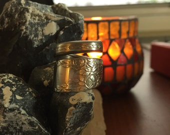 Hand Bent Spink Spoon Ring Rose Pattern Size 5.5
