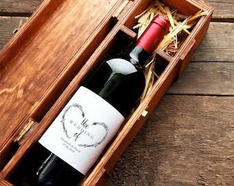 Wedding Wine Label, Custom Wine Label, Heart Wreath Wine Label Printable, Wedding Printable, PDF Instant Download