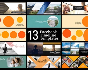 Facebook Timeline Cover Kit - 13 Facebook Timeline Templates - PSD Template - Customize Facebook Page - Instant Download - FK201