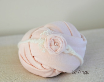 Newborn Wrap Set, Wrap and headband, newborn photo prop, Newborn prop headband/ newborn props, Peach newborn wrap, Pink newborn wrap