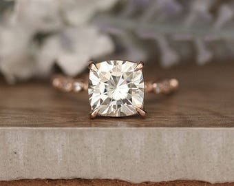 Moissanite Forever Classic Cushion 9mm Solitaire, Engagement Ring, Rose Gold Bridal Ring, Moissanite Rose Gold Ring, Wedding Band