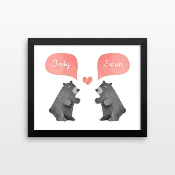 BLACK BEAR Couple Personalized Art Print, Husband Gift, Mens Gift, Anniversary Gift, Valentines Gift, Couples Gift, Animal Couple Wall Art