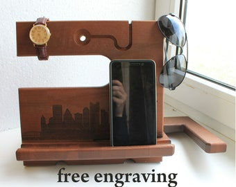 Iphone stand,Charging station Wood organizer Docking station Desk organizer Phone holder Gift for him Man gift Glasses holder Anniversary