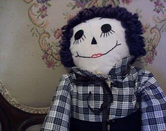 Vintage Ragggedy Andy Doll, primitive doll, folk art doll, antique rag doll