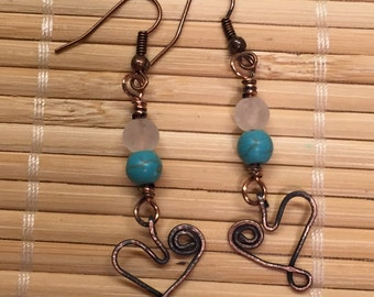 Rustic Copper Wire and Turquoise Drop Dangle Heart Earrings  - Valentine Jewelry Antiqued Finish