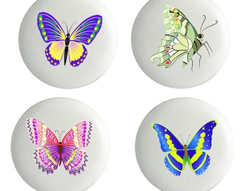 Set of 4 Butterfly Ceramic Knobs Pulls Kitchen Drawer Cabinet Closet
