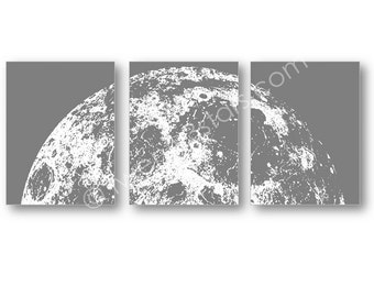 Rising Moon Posters, Moon Canvas Art, Moon Canvases, Moon Triptych, Moon Wall Art, Moon Poster, Moon Art Prints, Personalized Moon Art