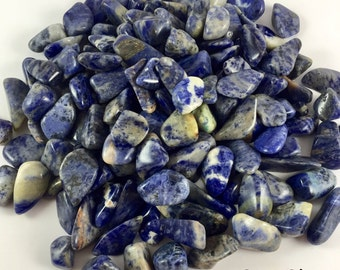 Tumbled Sodalite Crystals 1/2 Pound - Healing Crystals and Stones, Raw Crystals, Calming Stone, Crystals & Minerals, Chakra Positive Energy