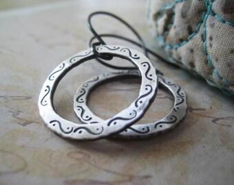 Hoop Earrings, Sterling Silver, Fine Silver, Hand Stamped Design, Oxidized Earrings,  Hand Formed Hoops, candies64