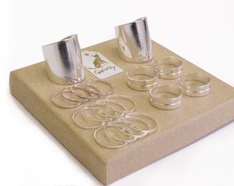 Galisfly Silver Stack Ring Box - silver knuckle rings silver tube rings and silver midi rings