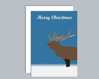 Deer stag in the snow A6 Christmas card