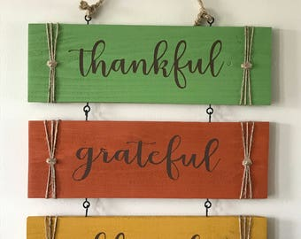 Thankful, Grateful, Blessed Sign, Thankful, Grateful, Blessed Set