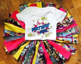 Girls superhero birthday outfit