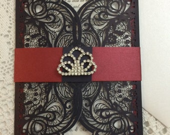 Lux Custom Glam Lasercut Navy and Burgundy Wedding Invitation | Sweet 16 | Crystals | Bling | Set of 10