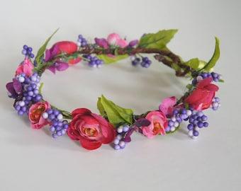 Pink flower/purple berries crown