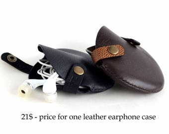 Personalized headphone leather case Cord organizer for men Best gift for him Mens gift Leather goods Leather earphone case Cable organizer