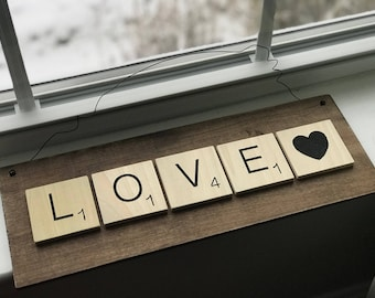 LOVE Scrabble oversized tile wall hanging sign