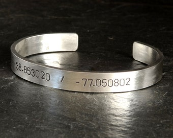 Massive latitude and longitude sterling silver bracelet personalized with your very own coordinates - BR012