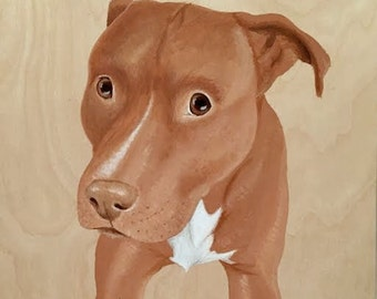 Custom Pet Portrait, Wood Panel, Personalized Pet Memorial Dog Painting, Unique Birthday Gift Wife Husband Mom Dad Parents Christmas Holiday