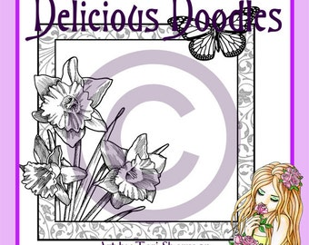 Digital Stamp - Daffodils and Butterfly Frame