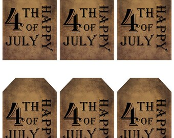 grungy tag set, primitive tags, craft supplies, scrapbooking - Happy 4th of July, plain - digital PDF & jpeg - H4JGT05