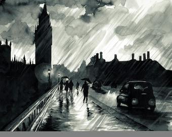 London Rain Ink Drawing Art Print Wall Art Home Decor