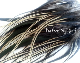 "16 Feather Hair Extensions Natural BADGER Wide Feather Extensions With Fluff  Long 7""-9+"" (2.75-3.54cm) Crafts, Fly TYyng"