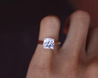 2.20 Carat FOREVER ONE Moissanite Cushion-Cut Solitaire Engagement Ring 14k White Gold - Cushion Moissanite Rings For Women  7.5mm