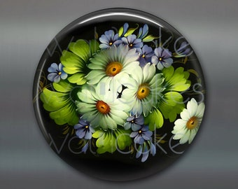 "3.5"" floral fridge magnet, russian trays flower decor, kitchen decor, large magnet, stocking stuffer  MA-328"