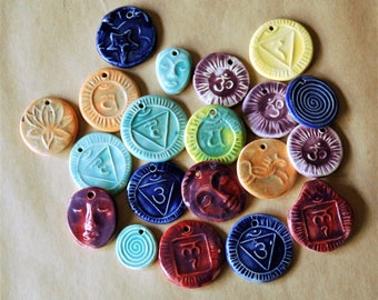 20 Handmade Ceramic Pendants -  Bead Sale Assortment - Bright Spring Selection of Chakra Pendants along with Spirals and Faces