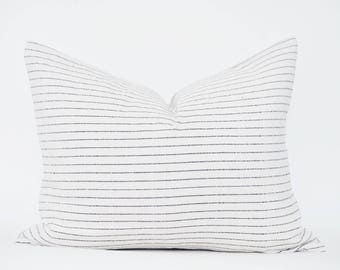 White Striped Pillow Cover, Handwoven Lumbar, Authentic Thailand textile, Black Stripes