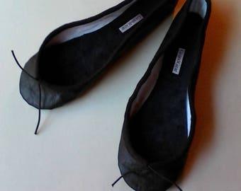 Extreme Low-Cut Black Leather Ballet Shoes -  Adult sizes