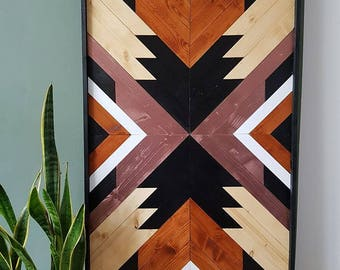 Wood Wall Art, Aztec, Wall Hanging, Art, Geometric Art, Boho Wall Art , Canvas, Geometric Wood Art, Gift, Wood,