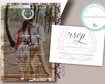 Wedding Invitation with Photo & RSVP | Elegant and Simple | Add Your Photo! Invitation Suite Options | Digital or Printed