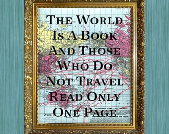 Map Print The World is a Book Nautical Sayings Travel Sayings Print