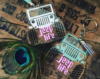 Glitter Acrylic Jeep Key Fob with Colored leather Tassel wrangler