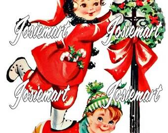 Vintage Digital Download Christmas Children Lamp Post Vintage Image Collage Large JPG and PNG