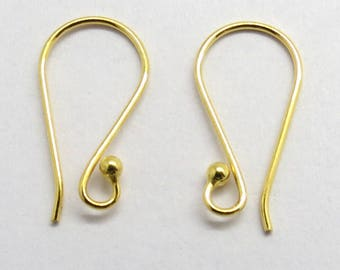 10 Pieces Gold Plated 925 Sterling Silver Dot Ball Earring Hook French Ear Wire 19mm Long