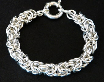 Sterling Silver 9.2mm Byzantine Link Bracelet with 18mm Sterling Spring Ring Clasp