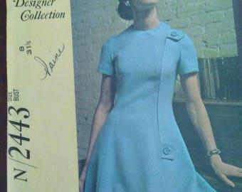 Vintage McCALLS Designer Collection Pattern N/2443 Paneled A-Line Dress Designed By Larry Aldrich Size 8 with 31 1/2 inch Bust Uncut