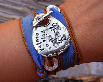 Anchor Jewelry, Anchor Bracelet, Sterling Silver Anchor Bracelet, I Refuse to Sink